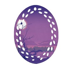 Abstract Tropical Birds Purple Sunset Oval Filigree Ornament (2-side)  by WaltCurleeArt