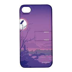 Abstract Tropical Birds Purple Sunset Apple Iphone 4/4s Hardshell Case With Stand by WaltCurleeArt