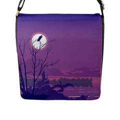 Abstract Tropical Birds Purple Sunset Flap Messenger Bag (l)  by WaltCurleeArt
