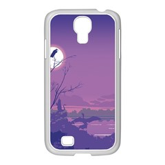 Abstract Tropical Birds Purple Sunset Samsung Galaxy S4 I9500/ I9505 Case (white) by WaltCurleeArt