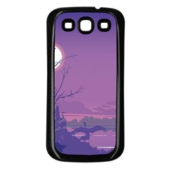 Abstract Tropical Birds Purple Sunset Samsung Galaxy S3 Back Case (black) by WaltCurleeArt