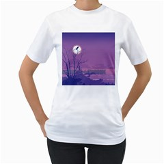 Abstract Tropical Birds Purple Sunset Women s T-shirt (white)  by WaltCurleeArt