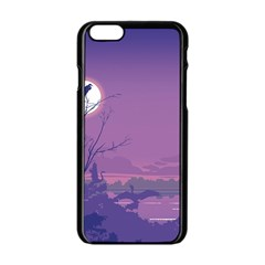 Abstract Tropical Birds Purple Sunset Apple Iphone 6/6s Black Enamel Case by WaltCurleeArt