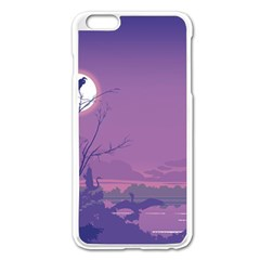 Abstract Tropical Birds Purple Sunset Apple Iphone 6 Plus/6s Plus Enamel White Case by WaltCurleeArt