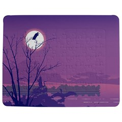 Abstract Tropical Birds Purple Sunset Jigsaw Puzzle Photo Stand (rectangular) by WaltCurleeArt