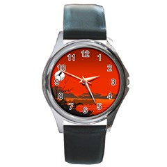 Tropical Birds Orange Sunset Landscape Round Metal Watch by WaltCurleeArt