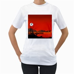 Tropical Birds Orange Sunset Landscape Women s T-shirt (white) (two Sided) by WaltCurleeArt