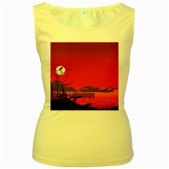 Tropical Birds Orange Sunset Landscape Women s Yellow Tank Top by WaltCurleeArt