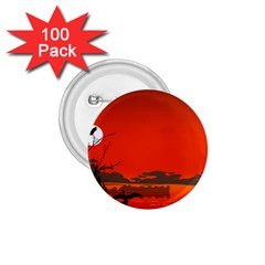 Tropical Birds Orange Sunset Landscape 1 75  Buttons (100 Pack)  by WaltCurleeArt