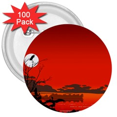 Tropical Birds Orange Sunset Landscape 3  Buttons (100 Pack)  by WaltCurleeArt