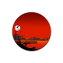 Tropical Birds Orange Sunset Landscape Rubber Round Coaster (4 Pack)  by WaltCurleeArt