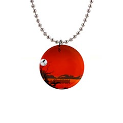 Tropical Birds Orange Sunset Landscape Button Necklaces by WaltCurleeArt