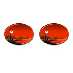 Tropical Birds Orange Sunset Landscape Cufflinks (oval) by WaltCurleeArt