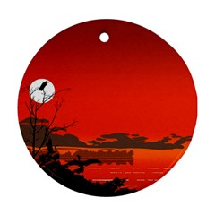 Tropical Birds Orange Sunset Landscape Round Ornament (two Sides)  by WaltCurleeArt