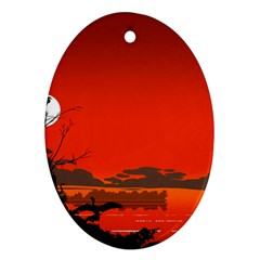 Tropical Birds Orange Sunset Landscape Oval Ornament (two Sides) by WaltCurleeArt