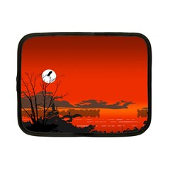 Tropical Birds Orange Sunset Landscape Netbook Case (small)