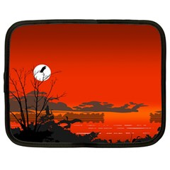 Tropical Birds Orange Sunset Landscape Netbook Case (large) by WaltCurleeArt