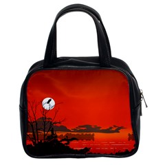 Tropical Birds Orange Sunset Landscape Classic Handbags (2 Sides) by WaltCurleeArt