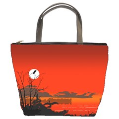 Tropical Birds Orange Sunset Landscape Bucket Bags by WaltCurleeArt