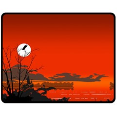 Tropical Birds Orange Sunset Landscape Fleece Blanket (medium)  by WaltCurleeArt