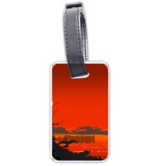 Tropical Birds Orange Sunset Landscape Luggage Tags (two Sides) by WaltCurleeArt