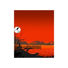 Tropical Birds Orange Sunset Landscape Shower Curtain 48  X 72  (small)  by WaltCurleeArt