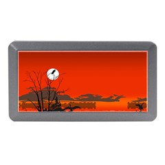 Tropical Birds Orange Sunset Landscape Memory Card Reader (mini) by WaltCurleeArt