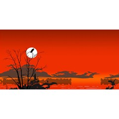 Tropical Birds Orange Sunset Landscape You Are Invited 3d Greeting Card (8x4)  by WaltCurleeArt