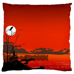 Tropical Birds Orange Sunset Landscape Large Cushion Case (two Sides) by WaltCurleeArt