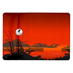 Tropical Birds Orange Sunset Landscape Samsung Galaxy Tab 10 1  P7500 Flip Case by WaltCurleeArt