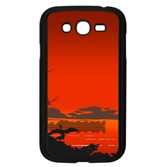Tropical Birds Orange Sunset Landscape Samsung Galaxy Grand Duos I9082 Case (black) by WaltCurleeArt