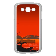 Tropical Birds Orange Sunset Landscape Samsung Galaxy Grand Duos I9082 Case (white) by WaltCurleeArt