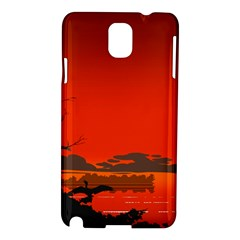 Tropical Birds Orange Sunset Landscape Samsung Galaxy Note 3 N9005 Hardshell Case by WaltCurleeArt