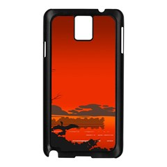 Tropical Birds Orange Sunset Landscape Samsung Galaxy Note 3 N9005 Case (black) by WaltCurleeArt