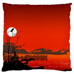 Tropical Birds Orange Sunset Landscape Large Flano Cushion Case (two Sides) by WaltCurleeArt