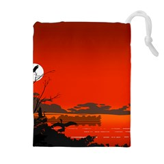 Tropical Birds Orange Sunset Landscape Drawstring Pouches (extra Large) by WaltCurleeArt