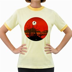 Tropical Birds Orange Sunset Landscape Women s Fitted Ringer T-shirts by WaltCurleeArt