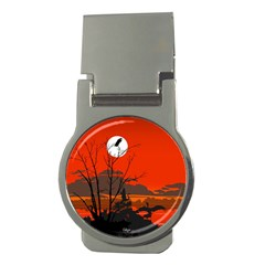 Tropical Birds Orange Sunset Landscape Money Clips (round)  by WaltCurleeArt