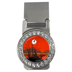 Tropical Birds Orange Sunset Landscape Money Clips (cz)  by WaltCurleeArt