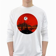 Tropical Birds Orange Sunset Landscape White Long Sleeve T-shirts by WaltCurleeArt