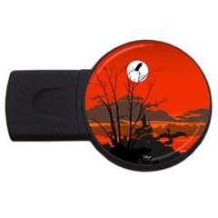 Tropical Birds Orange Sunset Landscape Usb Flash Drive Round (4 Gb)  by WaltCurleeArt