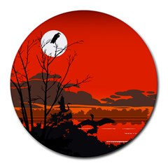 Tropical Birds Orange Sunset Landscape Round Mousepads