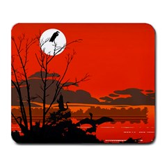 Tropical Birds Orange Sunset Landscape Large Mousepads by WaltCurleeArt