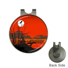Tropical Birds Orange Sunset Landscape Hat Clips With Golf Markers by WaltCurleeArt