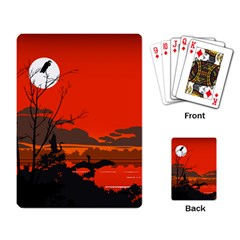 Tropical Birds Orange Sunset Landscape Playing Card by WaltCurleeArt