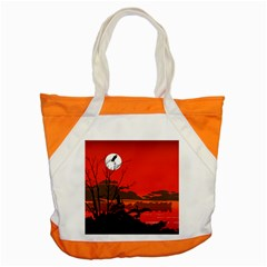 Tropical Birds Orange Sunset Landscape Accent Tote Bag by WaltCurleeArt