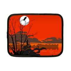Tropical Birds Orange Sunset Landscape Netbook Case (small)  by WaltCurleeArt