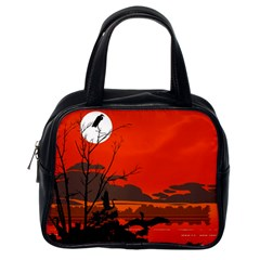 Tropical Birds Orange Sunset Landscape Classic Handbags (one Side) by WaltCurleeArt