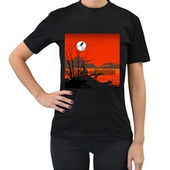 Tropical Birds Orange Sunset Landscape Women s T-shirt (black) by WaltCurleeArt