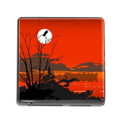 Tropical Birds Orange Sunset Landscape Memory Card Reader (square)
